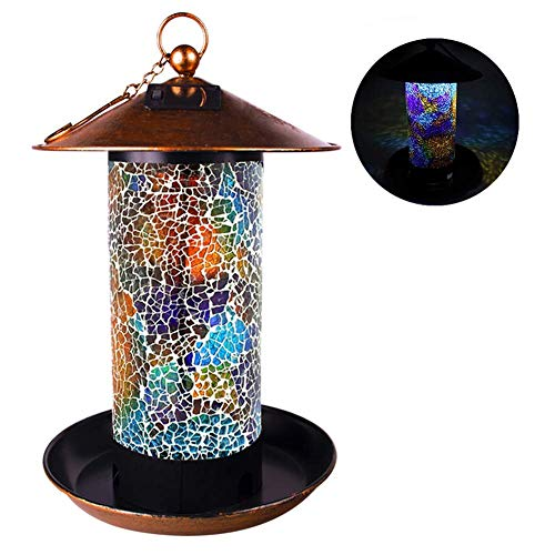Solar Bird Feeder for Outside Hanger Oriole Bird Feeder Lantern for Outdoor Hanging LED Garden Light Mosaic Lamp Lantern Waterproof (Multicolor)