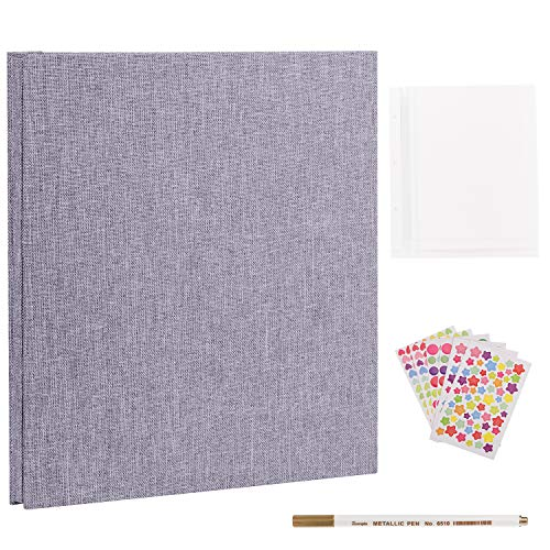 VACNITE Photo Album Self Adhesive, Dust-Free/Air-Free/Glue-Free Scrapbook Album for Wedding/Family, Linen Cover DIY Gift Magnetic Photo Book with 40 Sticky Pages Holds 8X10, 6X8, 5X7, 4X6, Grey