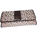 CG Signature Brown tan Croc Fabric Canvas Checkbook L Wallet Designer Inspired