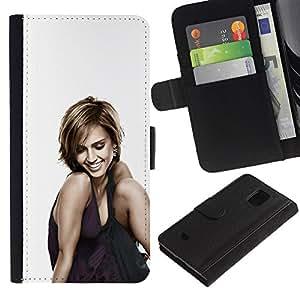 Stuss Case / Funda Carcasa PU de Cuero - Mujer Sonriente - Samsung Galaxy S5 Mini, SM-G800