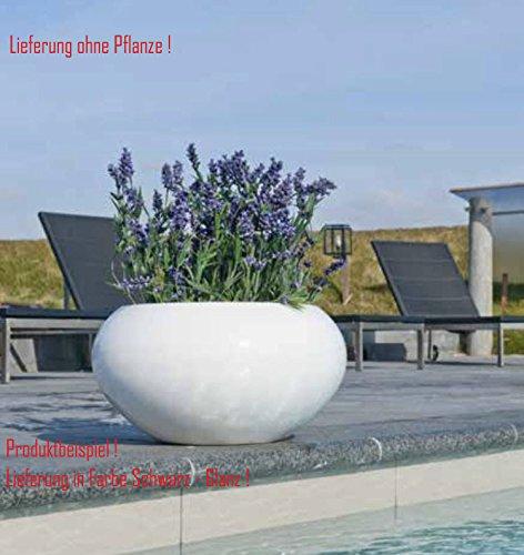 Blumenübertopf Cora aus Resin-Steinmischung, sonnen-und regenbeständig für Innen und Außen, Farbe Schwarz glänzend, Ø 47cm Höhe 25,5cm