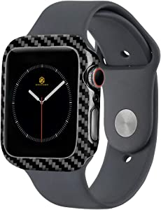 MONOCARBON Real Carbon Fiber Case Compatible with Apple Watch Series 6/SE/5/4 44mm Protective Frame iWatch Case with Weight 0.7g - Thickenss 0.6mm - Glossy Finishing