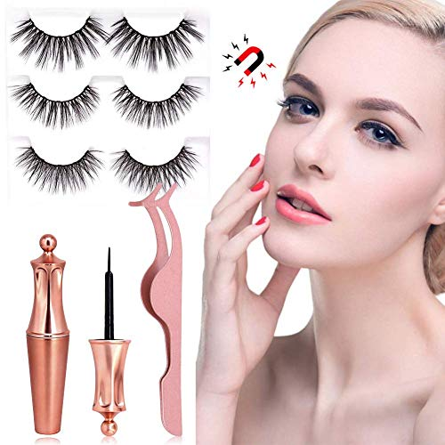 Magnetic Eyelashes,magnetic eyeliner, waterproof eyeliner,Liquid Eyeliner,3D Magnetic False Eyelashes kit With 3 Pairs Different Style Reusable Lashes