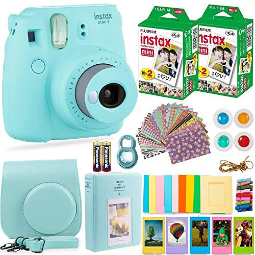 Fujifilm Instax Mini 9 Instant Camera + Fuji Instax Film (40 Sheets) + Batteries + Accessories Bundle – Carrying Case, Color Filters, Photo Album, Stickers, Selfie Lens + More (Ice Blue)