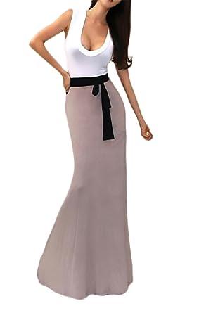 Vestidos Largos Casual Mujer Verano Sin Mangas V Cuello Vestido con Joven Bastante Cinturón Patchwork Slim Fit Color Sólido Women: Amazon.es: Ropa y ...