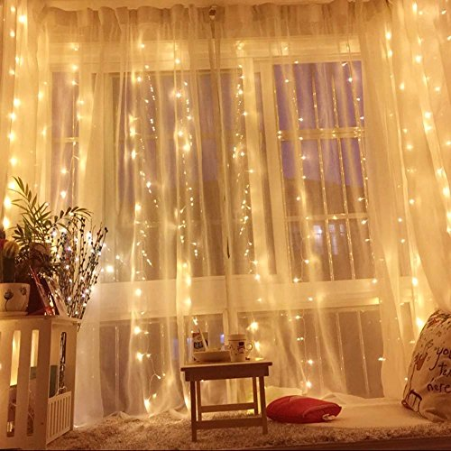 Icicle String Lights, 304 LED Waterproof Fairy Lights for Wedding Party Home Garden Gazebo Bedroom Curtain Outdoor Indoor Wall Art Decor(Warm (Wall Decorations For Halloween)