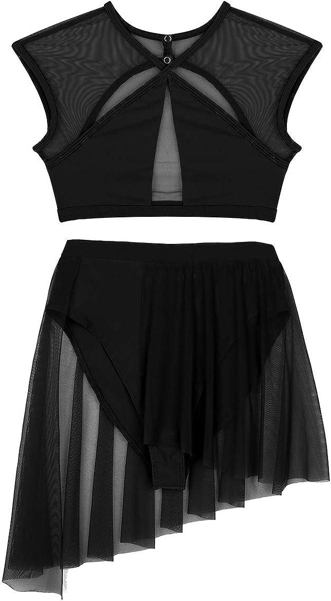 iiniim Womens Fashion Mesh Sheer See Through Asymmetric Lyrical Ballet Dance Leotard 2 Pieces Outfits Crop Tops with Short Skirt