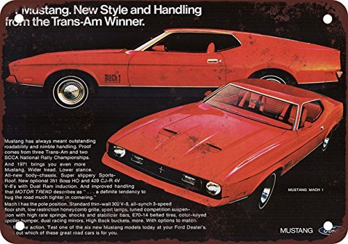 1971 Ford Mustang Mach 1 Vintage Look Reproduction Metal Tin Sign 12X18 Inches
