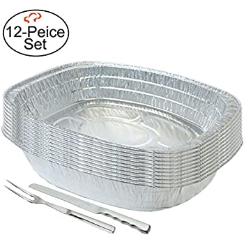 tiger chef 10pack disposable durable aluminum large oval turkey roasting pan includes