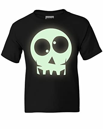 Kids Boys Girls Halloween Glow In The Dark Skull T Shirt Colours New