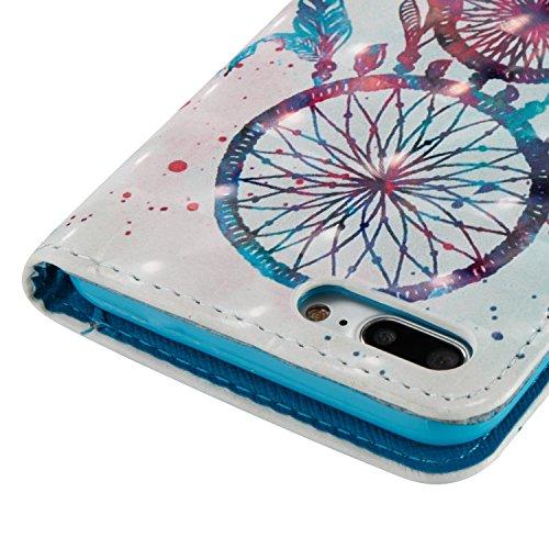 Para iPhone 7 Plus (5,5 zoll) funda, (Campanula Pareja (blanco)) pintura 3D caja del teléfono de la PU patrón en relieve ,Función de Soporte Billetera con Tapa para Tarjetas correa de mano soporte par Campanula Pareja (blanco)