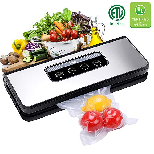 Vacuum Sealer Machine, Winjoy Automatic Food Sealer for Food Savers w/Starter Kit|Touch Pannel and LCD Display|Dry & Moist Food Modes| Compact Design (Silver)