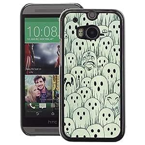A-type Arte & diseño plástico duro Fundas Cover Cubre Hard Case Cover para HTC One M8 (White Black Spooky Halloween)
