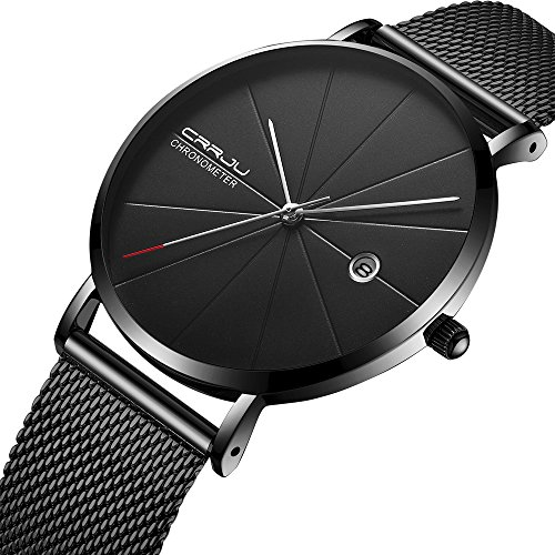 Men Minimalist Quartz Watch Black Stainless Steel Mesh Strap Casual Analog Watch with Date Display