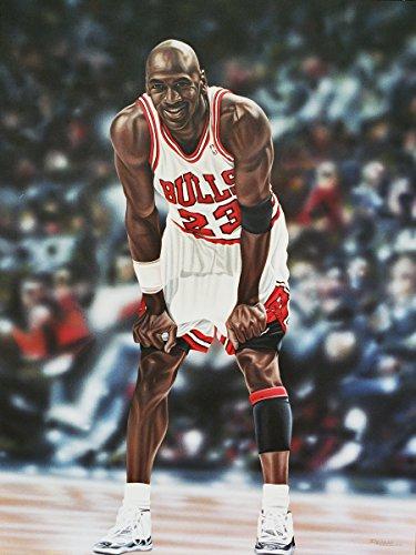 Buyartforless Michael Jordan Chicago Bulls by Darryl Vlasak 32x24 Sports Basketball Legend Oil Painting Print on Wrapped Canvas Wall Art Décor Multicolored