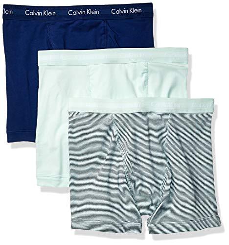 Calvin Klein Men's Cotton Stretch 3 Pack Boxer Briefs, ELYSIAN Green/Elysian Green Stripe/Blue depth, -