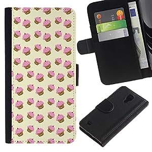Billetera de Cuero Caso del tirón Titular de la tarjeta Carcasa Funda del zurriago para Samsung Galaxy S4 IV I9500 / Business Style muffin cupcake yellow pink pattern cute