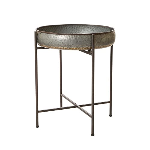 Glitzhome Rustic Tray Accent Galvanized End Table Metal Sofa Side Table Shelf Tray