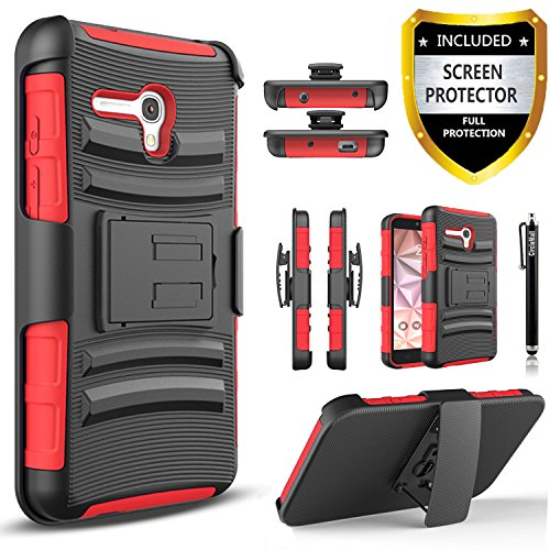 Alcatel OneTouch Fierce XL Case, Combo Rugged Shell Cover Holster with Built-in Kickstand and Holster Locking Belt Clip + Circle(TM) Stylus Touch Screen Pen And Screen Protector - Red