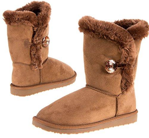 Damen Fellstiefel Winter Stiefeletten Stiefel Schuhe Boots Damenstiefel Winterstiefel, Farbe Grau, Gr. 39 Camel