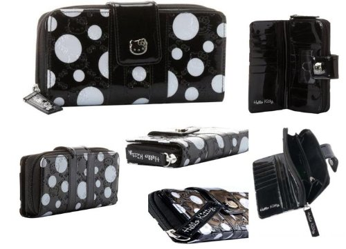 Hello Kitty Embossed Black White Polka Dots High Quality Long Wallet