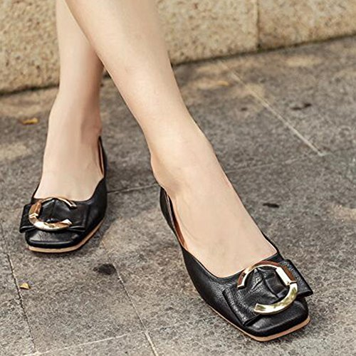 Square Slip Buckles Easemax Flat Top Womens Black Toe Trendy Shoes Low On wqxHCgt