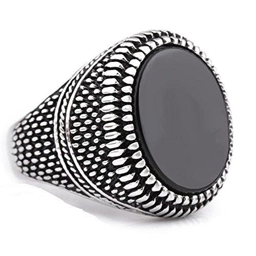 JAJAFOOK Vintage Men's Black Silver Stainless Steel Black Gem Round Signet Rings