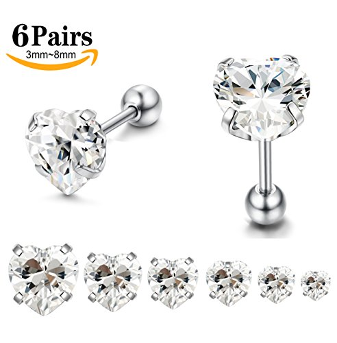 LOYALLOOK 6 Pairs Stainless Steel Heart Stud Cubic Zirconia Barbell Cartilage Tragus Helix Stud Earring (4 Mm Heart Stud)