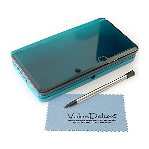 ValueDeluxeTM Aqua Blue Nintendo 3DS Complete Full Housing Shell Case Replacement Repair Fix with ValueDeluxeTM Micro Fiber Cleaning Cloth [bundle][video games] ()