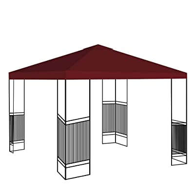 Canopy Gazebo Top Replacement Sunshade Tent Patio Outdoor Garden Cover 10'' x 10'' 1 Tier/Burgundy : Garden & Outdoor