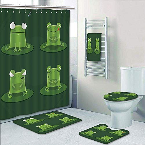Bathroom 5 Piece Set shower curtain 3d print Multi Style,Funny,Funny Muzzy Frog on Lily Pad in Pond Hunting Tasty Fly Expressions Cartoon Animal,Bottle green,Bath Mat,Bathroom Carpet Rug,Non-Slip,Bath