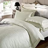 Emma Barclay Isadora Jacquard 300 Thread Count 100% Cotton Percale Duvet Cover Set, Cream, King by Emma Barclay