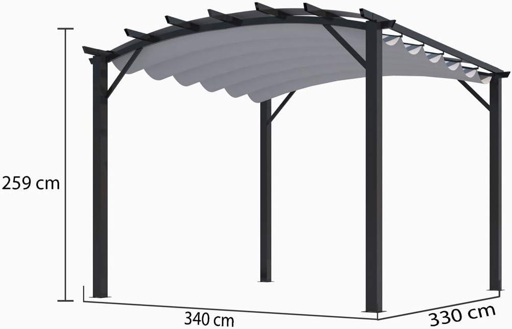 Habrita Pergola - Estructura mixta 11, 22 m2 - Tela gruesa gris: Amazon.es: Jardín