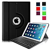 Fintie iPad Air Keyboard Case - Ultra Slim 360 Degree Rotating Stand Cover with Magnetically Detachable Wireless Bluetooth Keyboard for Apple iPad Air (iPad 5) - Black