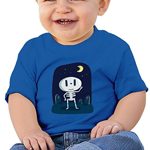 Zhangzhaoyin Cute Skeleton At Midnight Funny Cotton Soft O-Neck Short Sleeves T-Shirt For 6-24 Months Baby Shirt (Halloween Horror Nights 24 T Shirts)