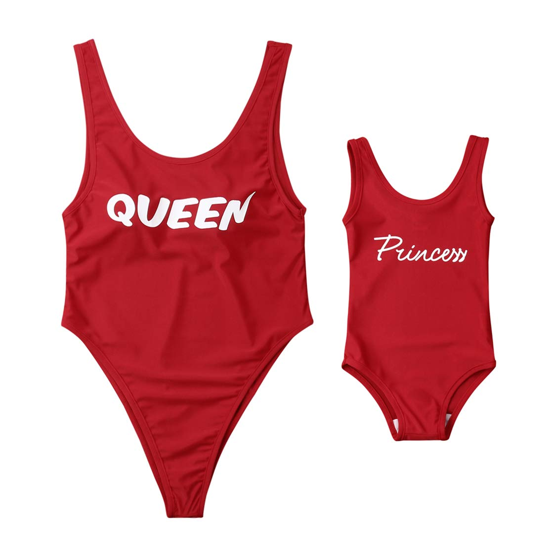 Mommy&Me Queen Princess Letter Print Swimsuit Family Matching One Piece Sleeveless Monokini Bathing Suit (Girl, Girl/ 1-2T)