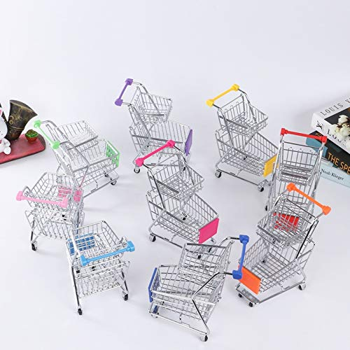 Figurines & Miniatures - Double Decker Trolley Creative Supermarket Mini Shopping Beauty Egg Tray Puff Storage Rack Desktop - Tray Toy Trolley Cloth Supermarket Shoe Stand Trolley Trolley Fast S
