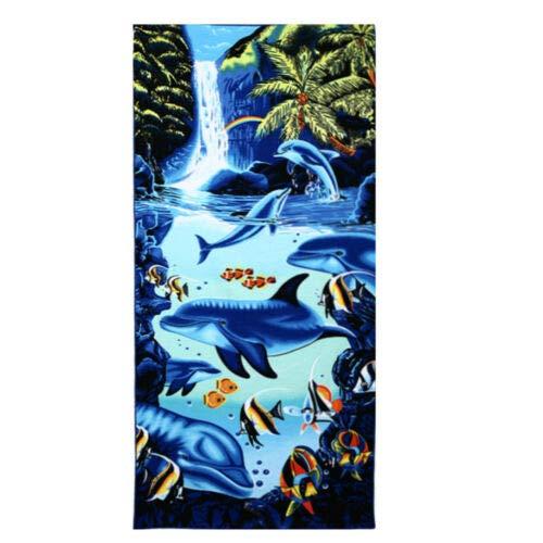 FidgetKute 70150cm Super Absorbent Bath Towel Cartoon Animals Microfiber Beach Washcloth Waterfall Dolphin One Size