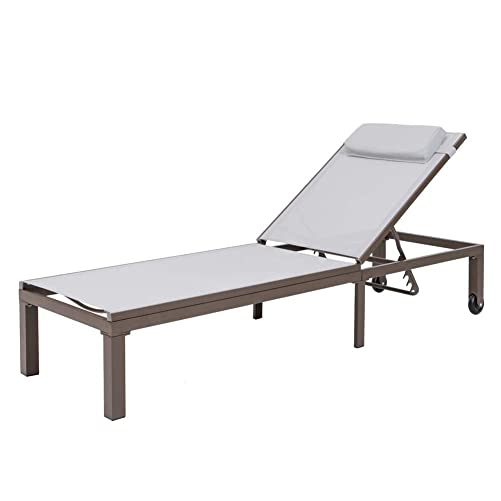 Crestlive Products Adjustable Outdoor Chaise Lounge Chair Five-Position Recliner with Headrest and Wheels All Weather for Patio, Beach, Yard, Pool Light Gray