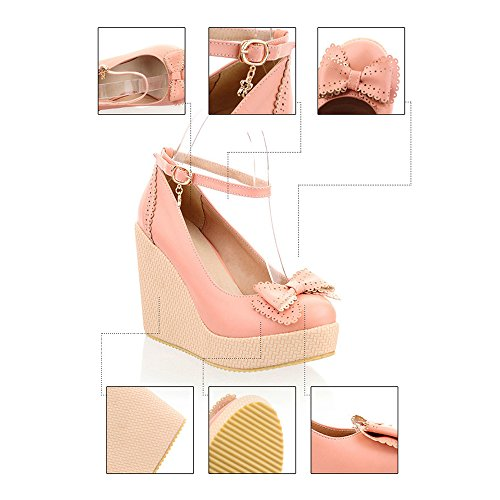 Slipsole pink Thin Buckle Bowknot Shoes 36 qw44xag5Pp