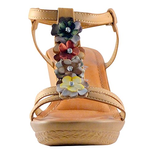 Women's Flower Multi Multi Strap Natural Toscanella Wedge Slingback T RXcqx1cwfd