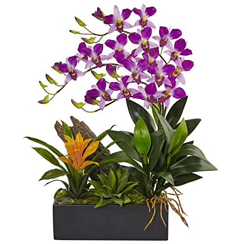 Dendrobium Silk Orchid Arrangement - Nearly Natural Dendrobium Orchid and Bromeliad Silk Arrangement, Purple