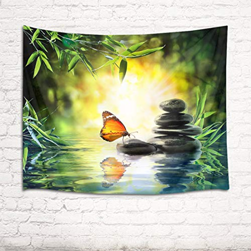 HVEST Zen Spa Tapestry Butterfly and Black Stones in Bamboo Forest Wall Hanging Spring Scenery Tapestries for Bedroom Living Room Dorm Wall Decor Party Backdrop,60Wx40H inches ()