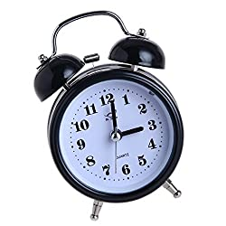D DOLITY 3inch Non-ticking Metal Double/Twin Bell Alarm Clock Table Desk Bedside Clock with Night Light - Black