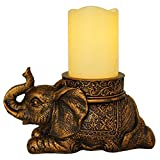 New Good Luck Gold Antiqued Elephant with Flameless LED Pillar Candle with Timer