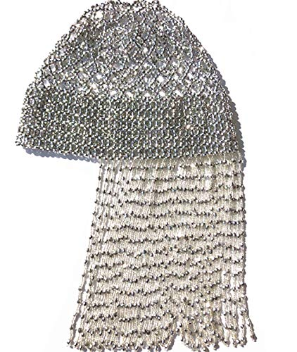 Gatsby Party Handmade Beaded Hat Pub/DJ Hair Costume Themed Party Egyptian Cleopatra Belly Dance Beaded Cap Wig Headpiece Without Fringe Design(Silver)