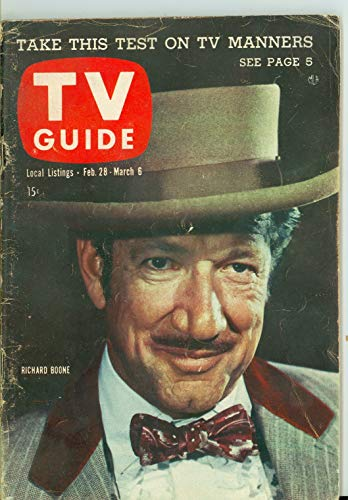 1959 TV Guide Feb 28 Richard Boone of Have Gun Will Travel - Colorado Edition Very Good (3 out of 10) Well Used by Mickeys Pubs