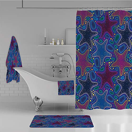 Bathroom 4 Piece Set Shower Curtain Floor mat Bath Towel 3D Print,Sarfish and Pebbles Marine Theme Aquatic Animal,Fashion Personality Customization adds Color to Your Bathroom. ()