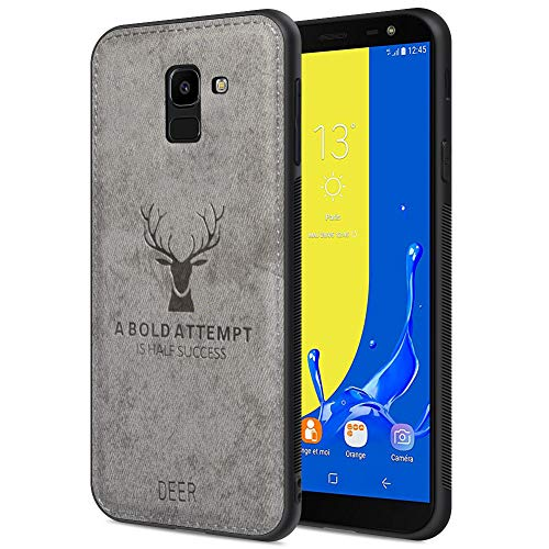 - Samsung J6 2018 Case for Samsung J6 Cover with Deer Pattern Inspirational Shockproof Anti-Fall TPU Soft Edge and Fabric Back Cover for Samsung J6 2018 Waterproof Case Dirt-Proof Anti-Fingerprint(Gray)