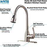 Hotis Commercial Pull Out Single Handle Stainless Steel Pull Down Sprayer Kitchen Sink Faucet, Brushed Nickel Kitchen faucets with Escutcheon